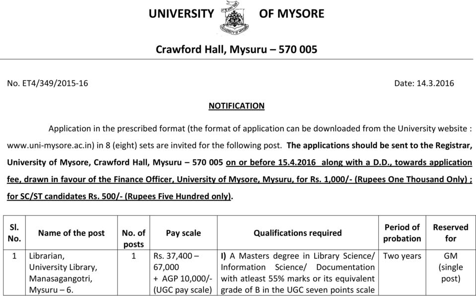 2016 along with a D.D., towards application fee, drawn in favour of the Finance Officer, University of Mysore, Mysuru, for Rs. 1,000/- (Rupees One Thousand Only) ; for SC/ST candidates Rs.