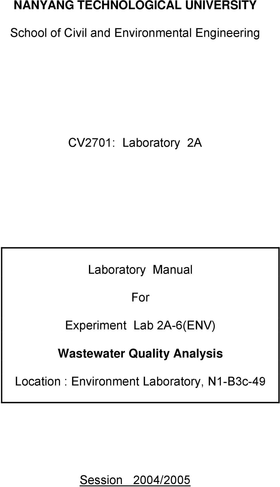 Manual For Experiment Lab 2A-6(ENV) Wastewater Quality