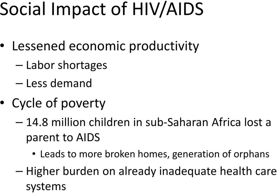 8 million children in sub-saharan Africa lost a parent to AIDS Leads