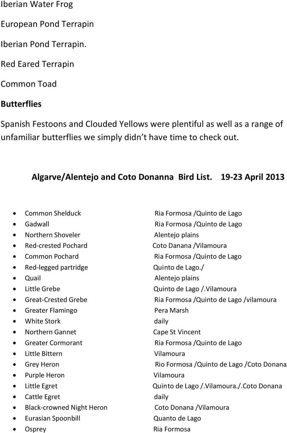 Algarve/Alentejo and Coto Donanna Bird List.
