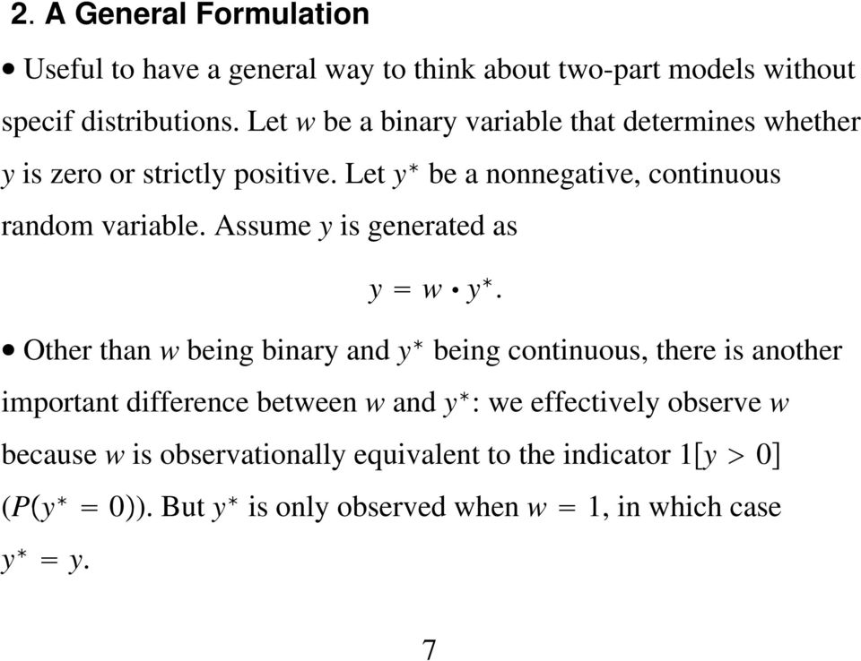 Assume y is generated as y w y.
