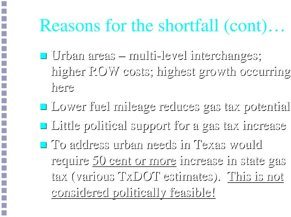 support for a gas tax increase To address urban needs in Texas would require 50 cent or more