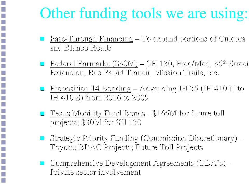 Proposition 14 Bonding Advancing IH 35 (IH 410 N to IH 410 S) from 2016 to 2009 Texas Mobility Fund Bonds - 165M for future toll
