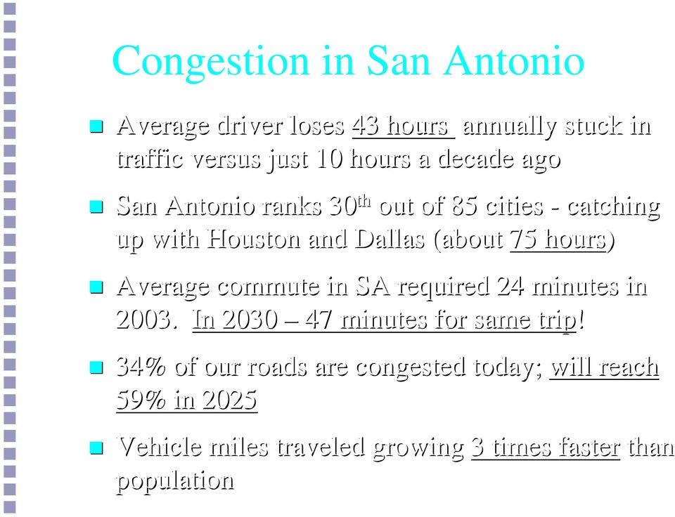 hours) Average commute in SA required 24 minutes in 2003. In 2030 47 minutes for same trip!