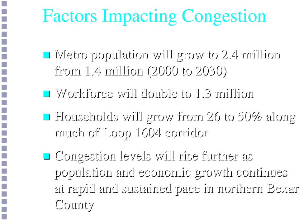 3 million Households will grow from 26 to 50% along much of Loop 1604 corridor