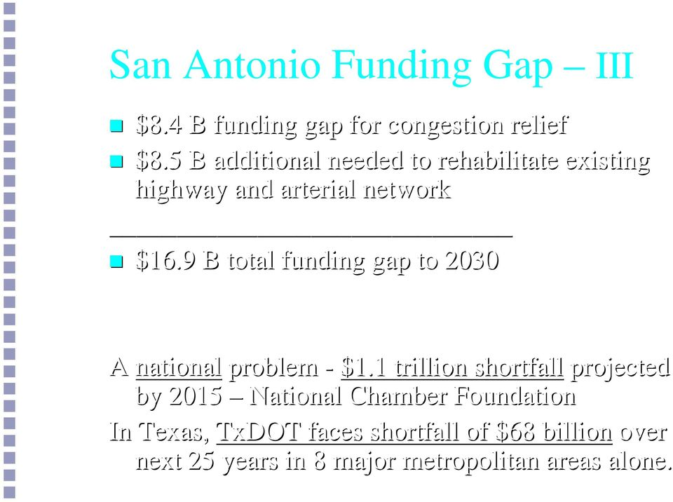 9 B total funding gap to 2030 Source: Texas Metropolitan Mobility Plan 2004 A national problem - 1.