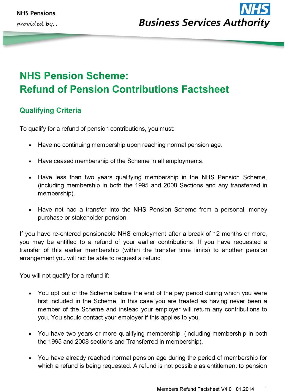 Nhs pension scheme refund of pension contributions factsheet pdf have less than two years qualifying membership in the nhs pension scheme including membership spiritdancerdesigns Gallery
