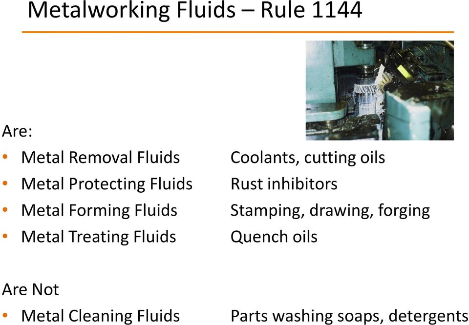 Coolants, cutting oils Rust inhibitors Stamping, drawing, forging