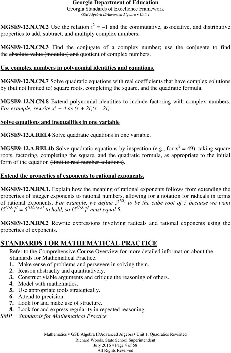 Georgia standards of excellence curriculum frameworks mathematics 7 solve quadratic equations with real coefficients that have complex solutions by but not limited fandeluxe Choice Image