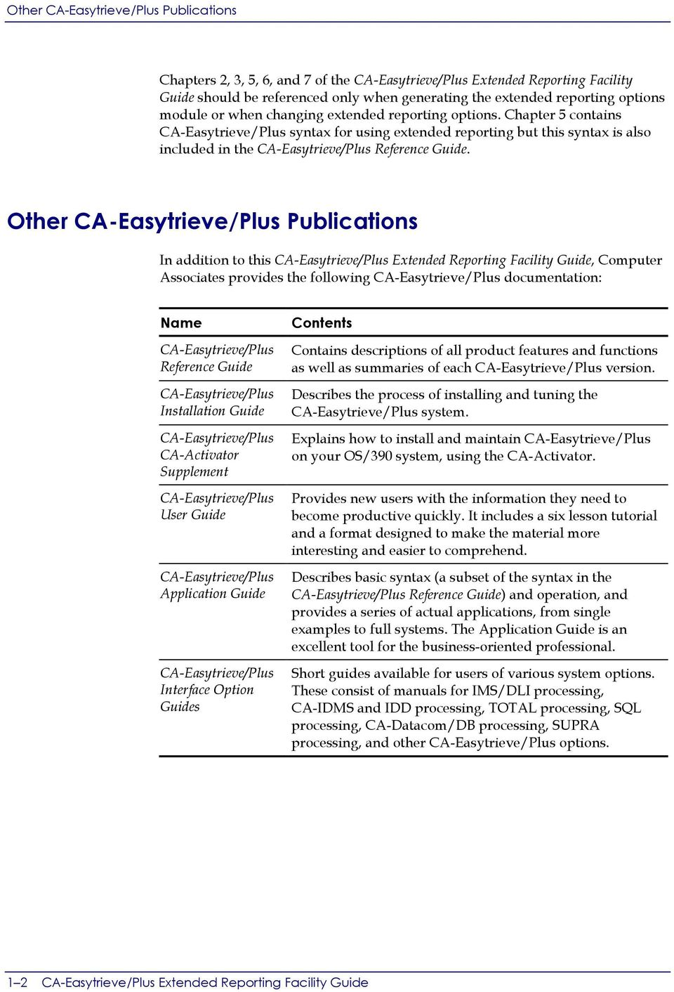 Chapter 5 contains CA-Easytrieve/Plus syntax for using extended reporting but this syntax is also included in the CA-Easytrieve/Plus Reference Guide.