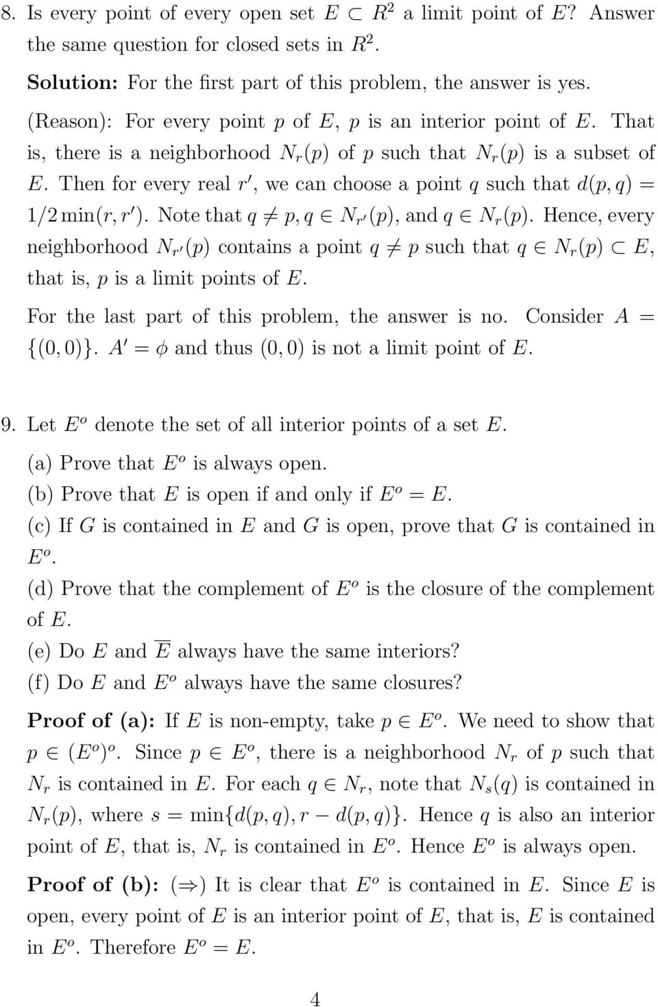 Then for every real r, we can choose a point q such that d(p, q) = 1/2 min(r, r ). Note that q p, q N r (p), and q N r (p).