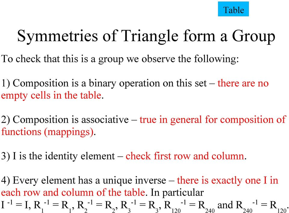 2) Composition is associative true in general for composition of functions (mappings).