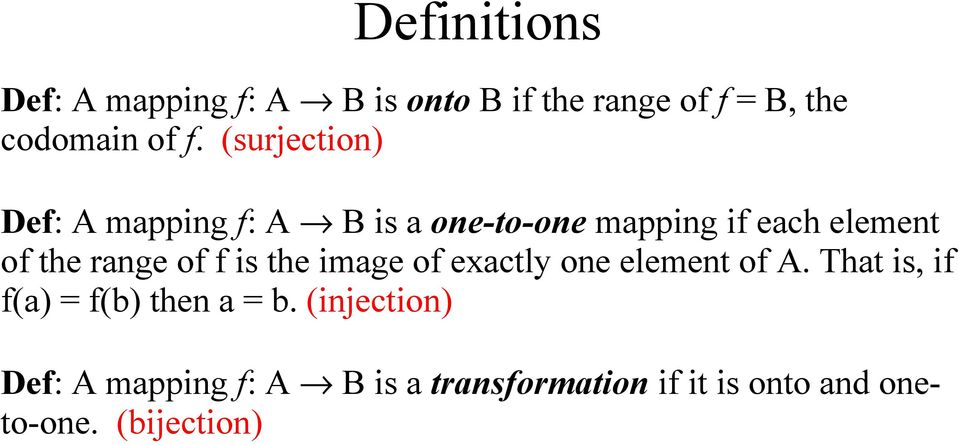 of f is the image of exactly one element of A. That is, if f(a) = f(b) then a = b.