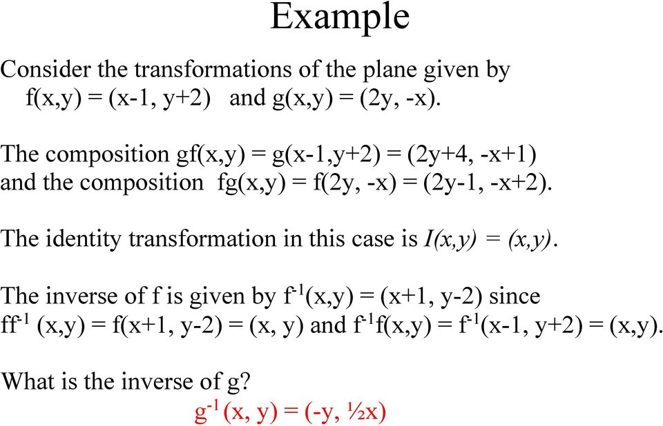 The identity transformation in this case is I(x,y) = (x,y).