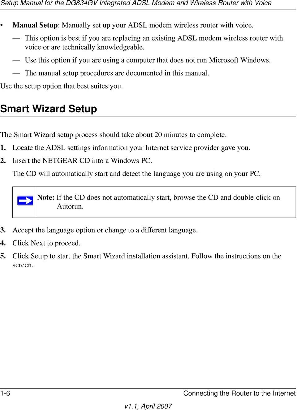 Smart Wizard Setup The Smart Wizard setup process should take about 20 minutes to complete. 1. Locate the ADSL settings information your Internet service provider gave you. 2. Insert the NETGEAR CD into a Windows PC.