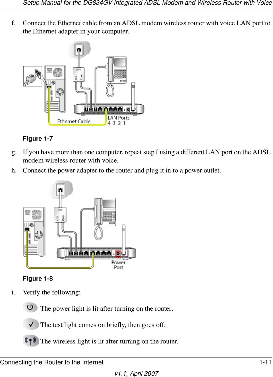 Figure 1-8 i. Verify the following: The power light is lit after turning on the router. The test light comes on briefly, then goes off.