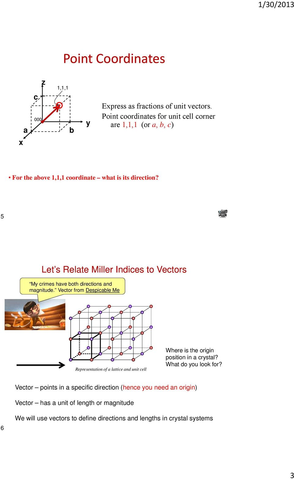 5 Let s Relte Miller Indices to Vectors M crimes hve both directions nd mgnitude.