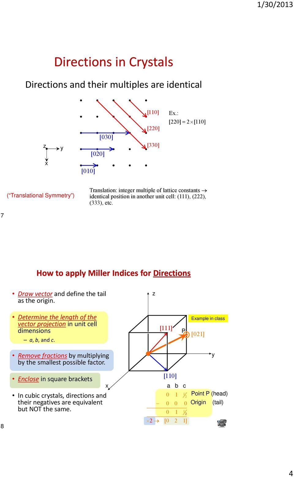 7 How to ppl Miller Indices for Directions Drw vector nd define the til s the origin. Dt Determine the length of the vector projection in unit cell dimensions, b, nd c.