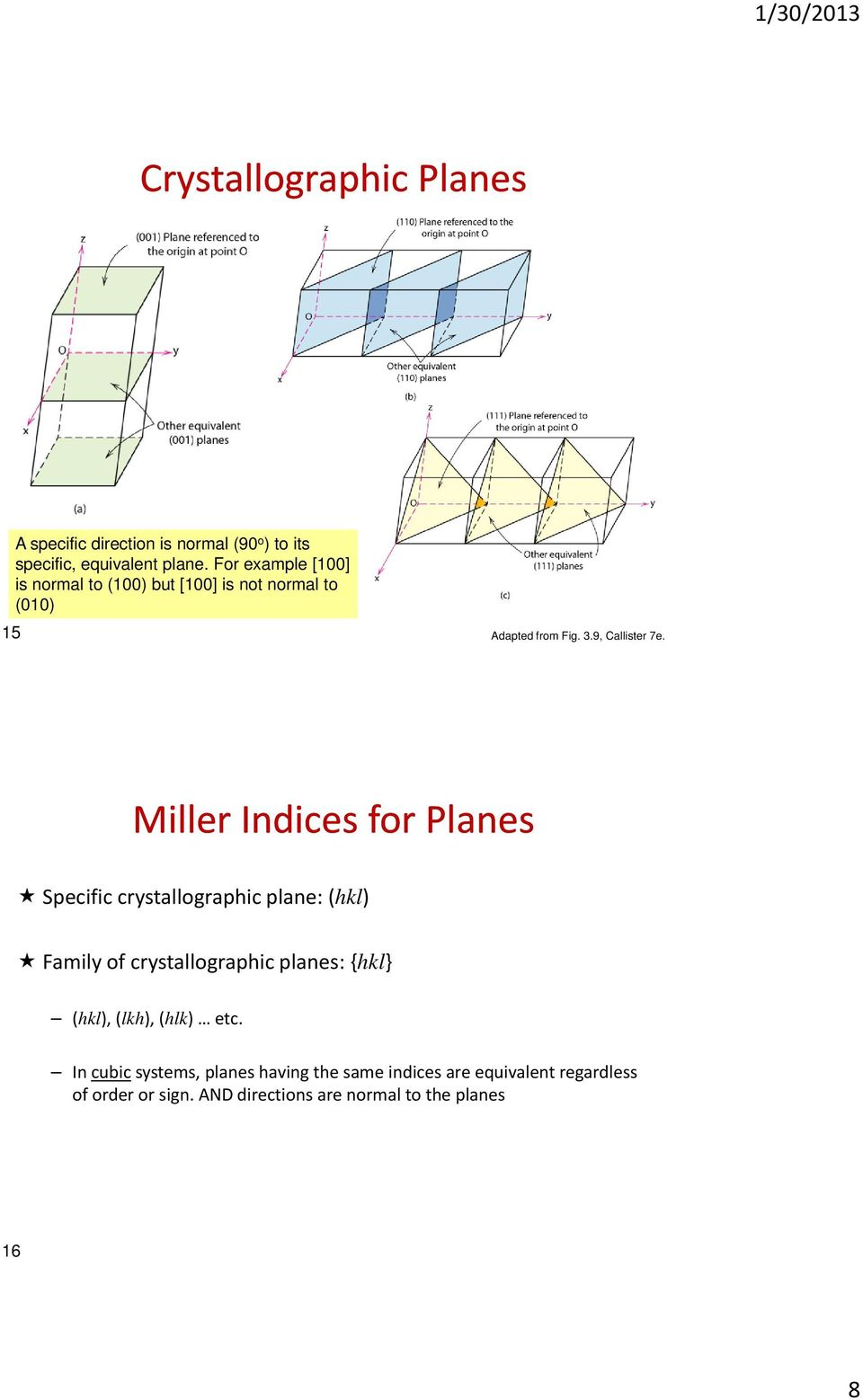 Miller Indices for Plnes Specific crstllogrphic plne: (hkl) Fmil of crstllogrphic plnes: {hkl} (hkl), (lkh),