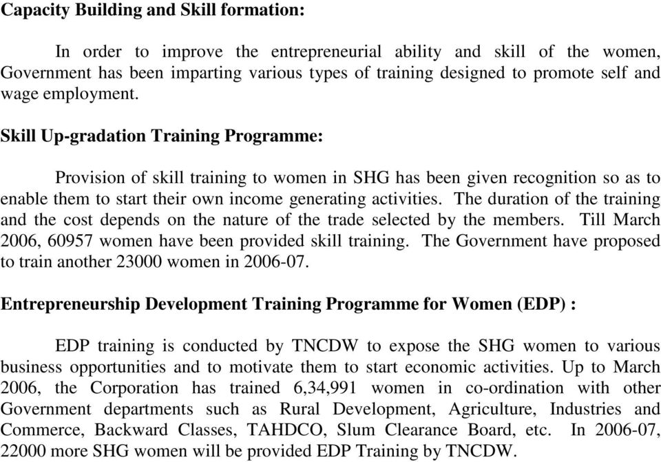 The duration of the training and the cost depends on the nature of the trade selected by the members. Till March 2006, 60957 women have been provided skill training.