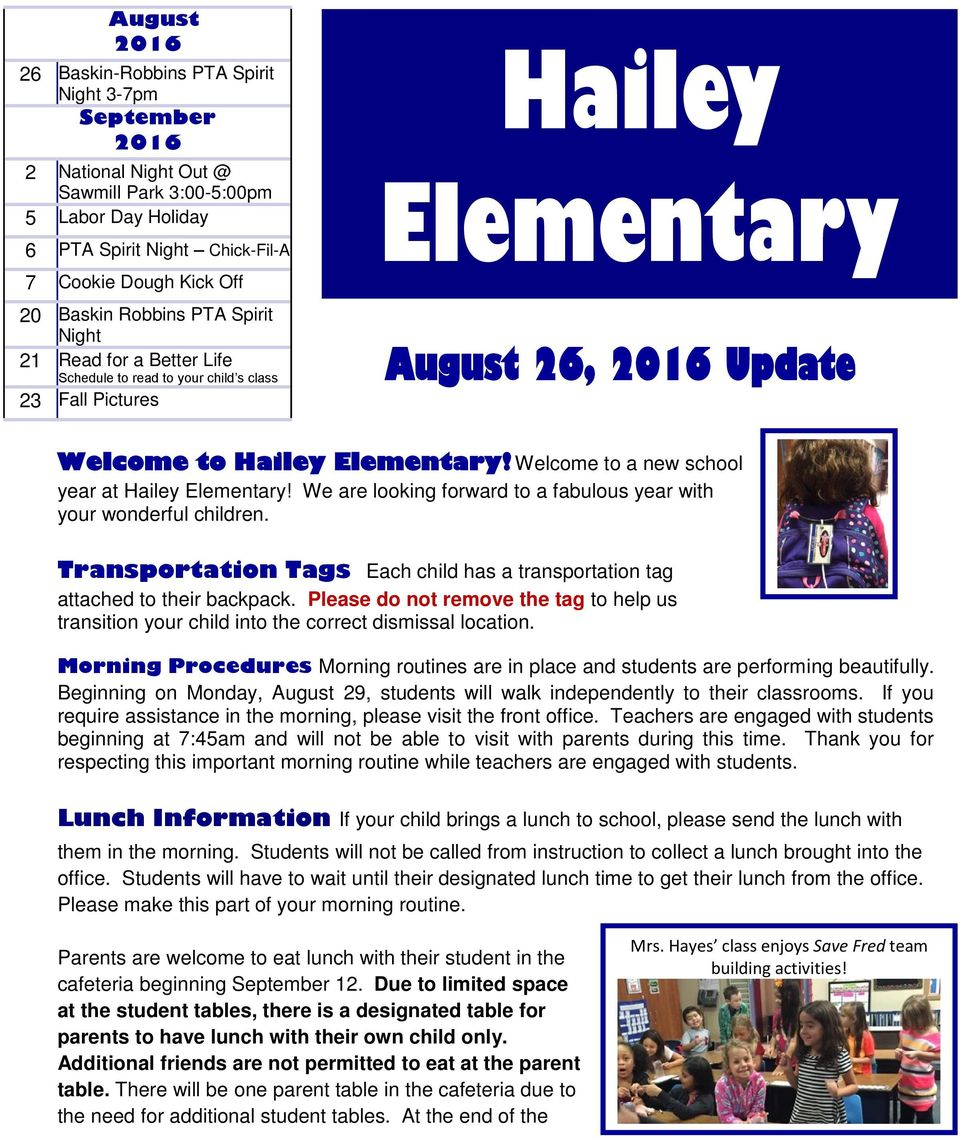 Elementary! Welcome to a new school year at Hailey Elementary! We are looking forward to a fabulous year with your wonderful children.