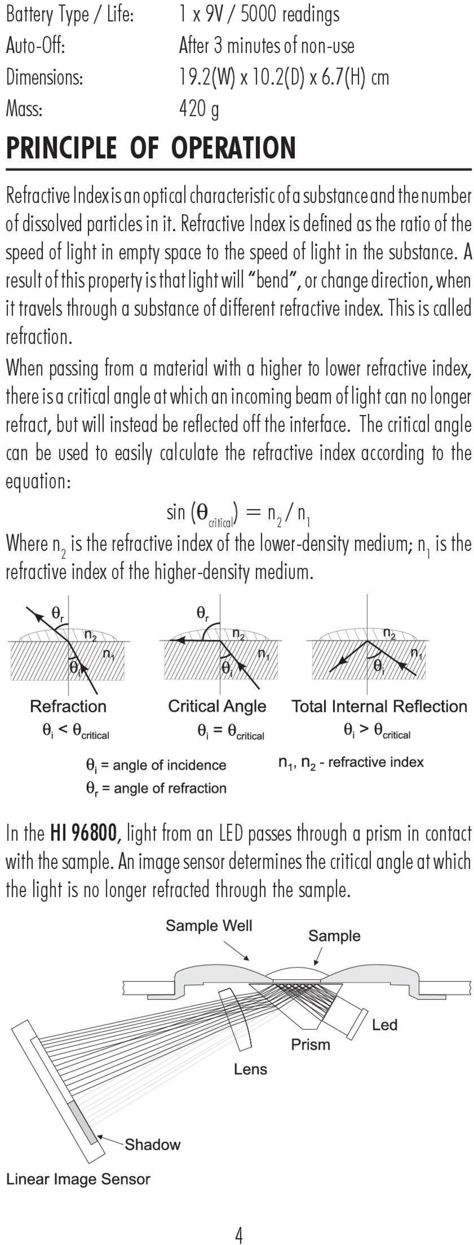 Refractive Index is defined as the ratio of the speed of light in empty space to the speed of light in the substance.