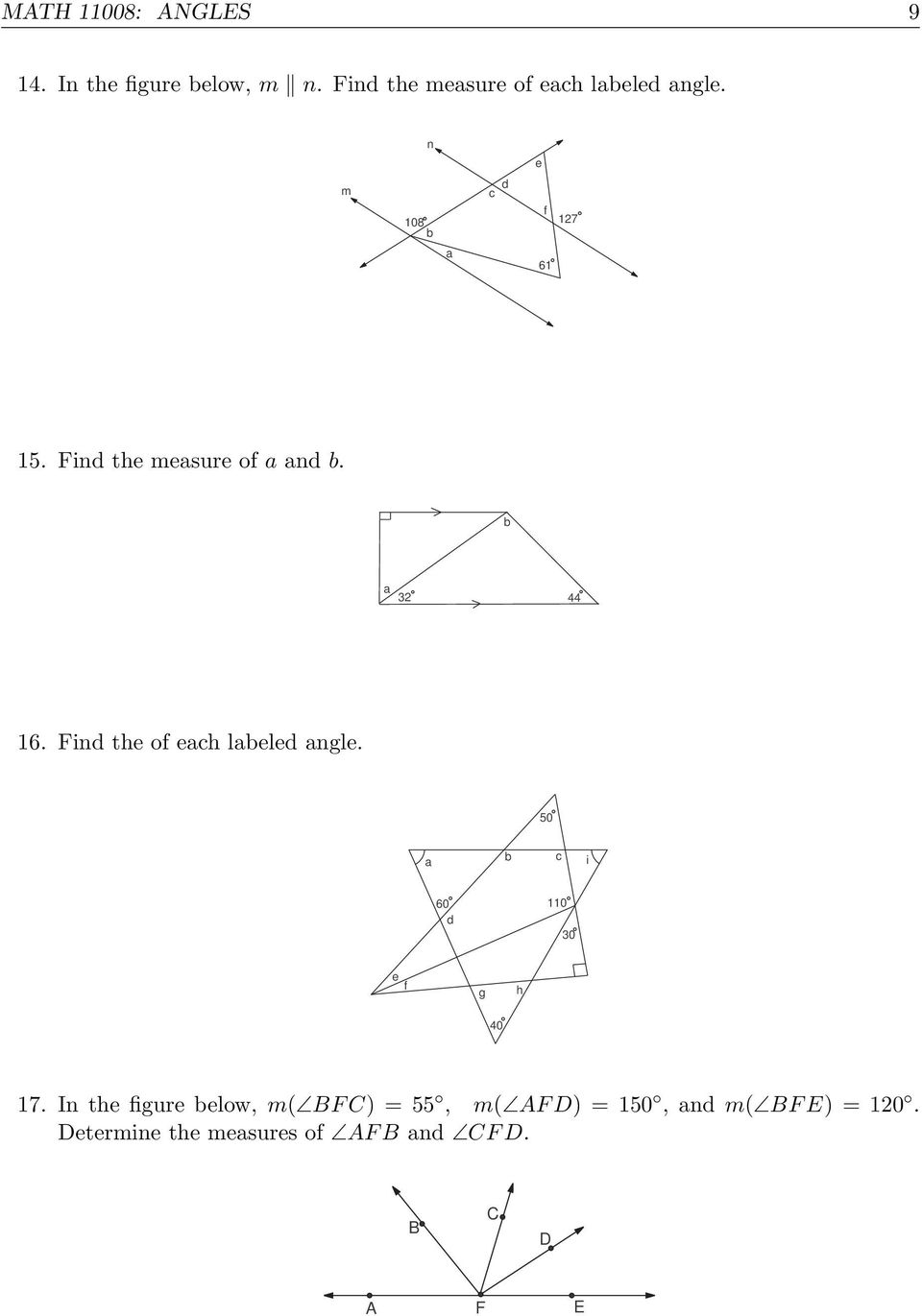 Find the of each labeled angle. 50 a b c i 60 d 0 0 e f g h 40 7.