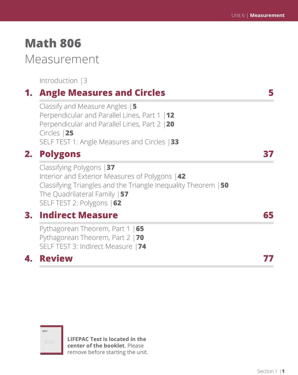 Angle Measures and Circles 33 2.
