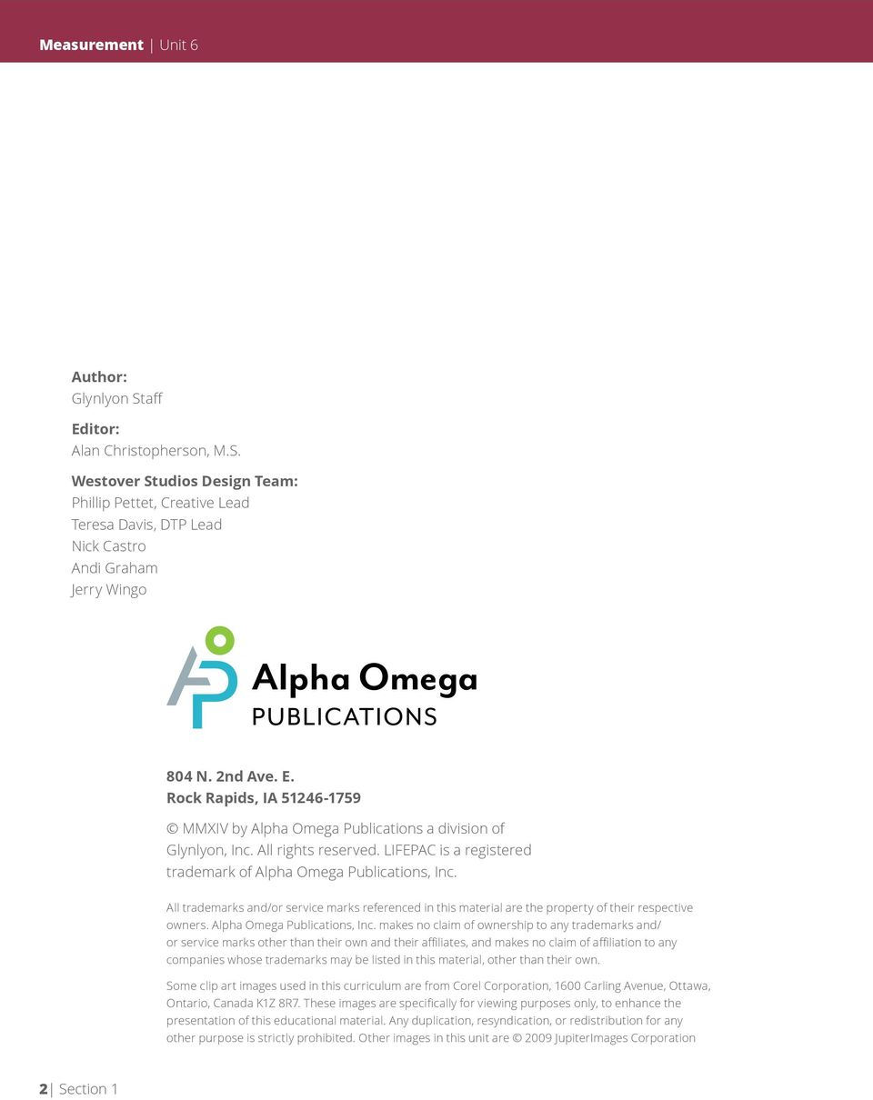 All trademarks and/or service marks referenced in this material are the property of their respective owners. Alpha Omega Publications, Inc.