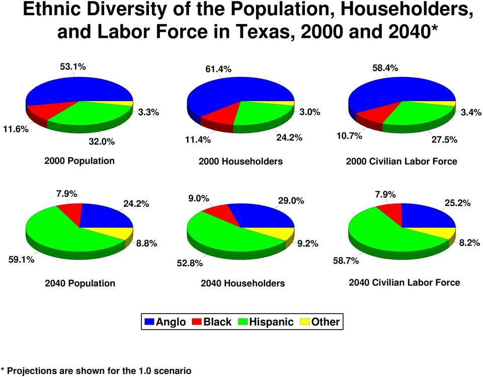 5% 2000 Population 2000 Householders 2000 Civilian Labor Force 7.9% 24.2% 9.0% 29.0% 7.9% 25.2% 8.8% 9.