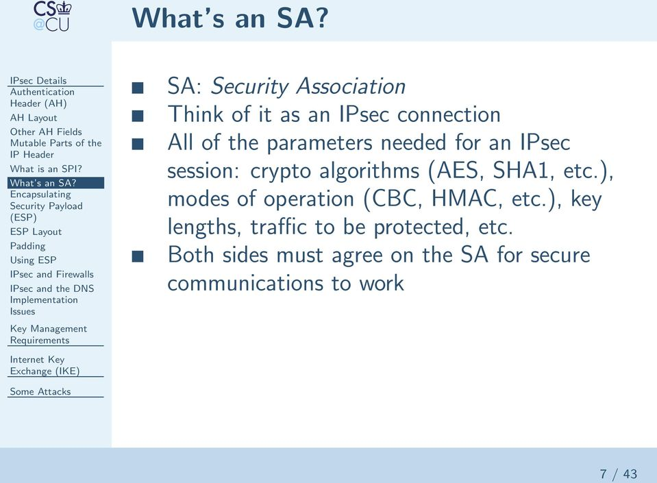 Security Association Think of it as an IPsec connection All of the parameters needed for an IPsec session: crypto algorithms (AES,