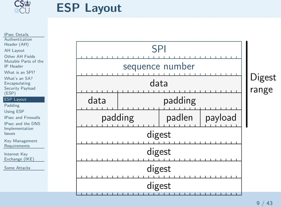 Encapsulating Security Payload (ESP) ESP Layout Padding Using ESP IPsec and Firewalls