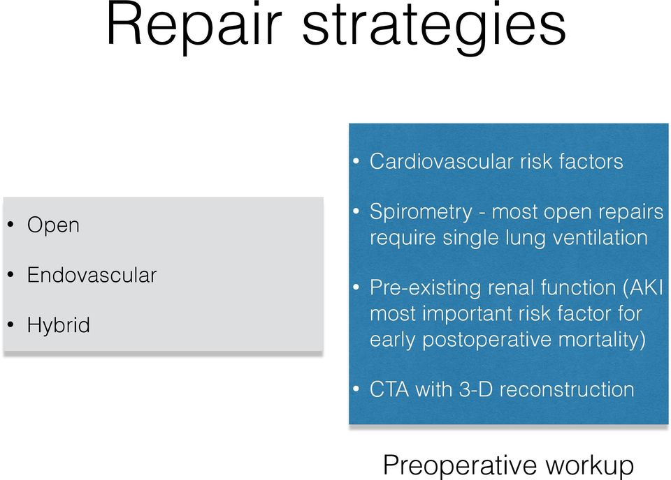 ventilation Pre-existing renal function (AKI most important risk