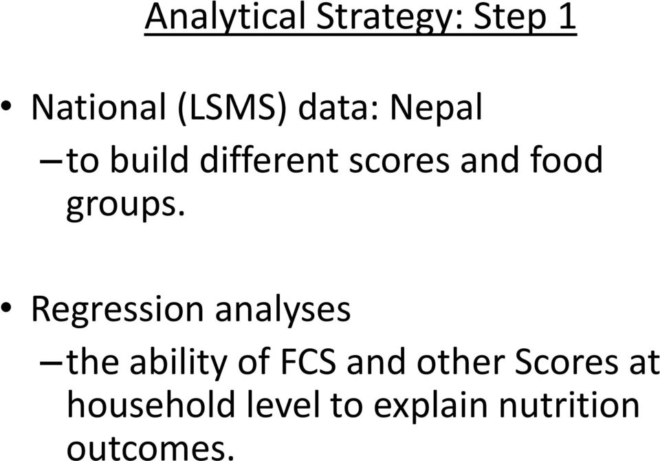 Regression analyses the ability of FCS and other
