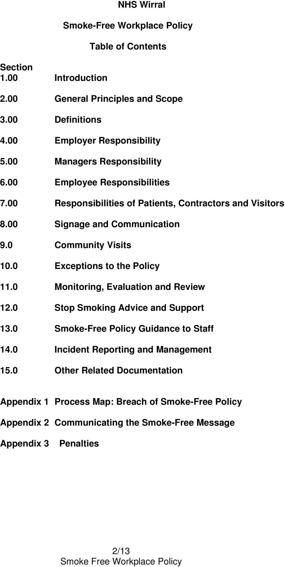 0 Community Visits 10.0 Exceptions to the Policy 11.0 Monitoring, Evaluation and Review 12.0 Stop Smoking Advice and Support 13.0 Smoke-Free Policy Guidance to Staff 14.