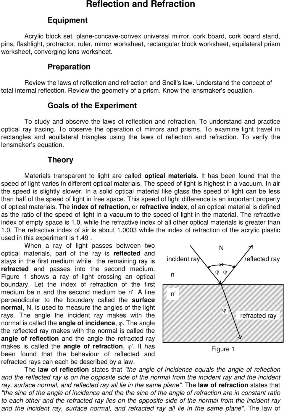 Review the geometry of a prism. Know the lensmaker's equation. Goals of the Experiment To study and observe the laws of reflection and refraction. To understand and practice optical ray tracing.