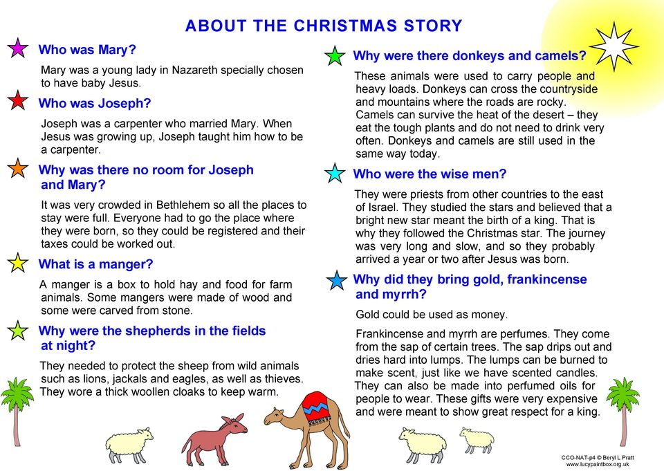 Everyone had to go the place where they were born, so they could be registered and their taxes could be worked out. What is a manger? A manger is a box to hold hay and food for farm animals.
