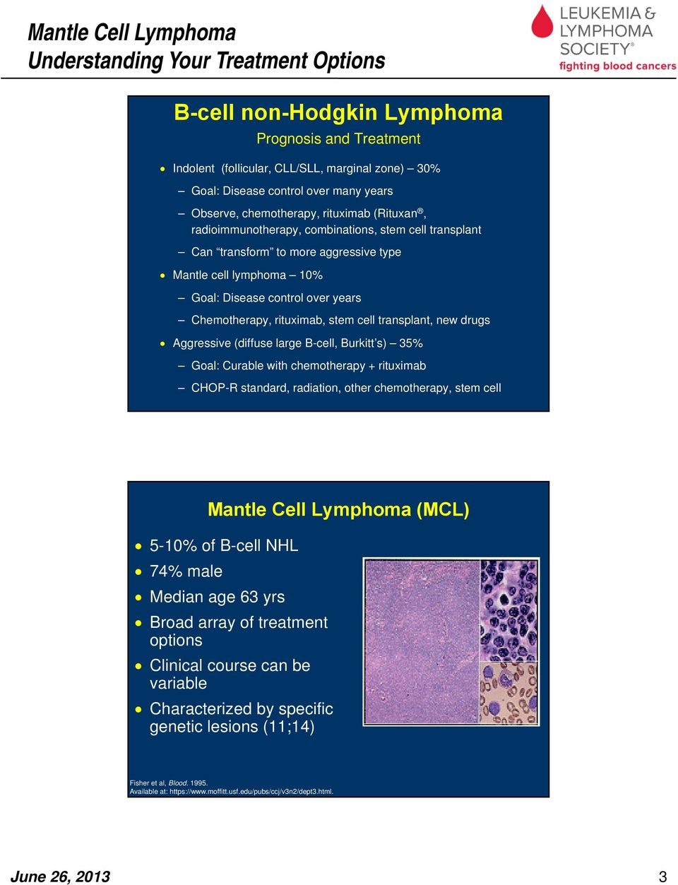 new drugs Aggressive (diffuse large B-cell, Burkitt s) 35% Goal: Curable with chemotherapy + rituximab CHOP-R standard, radiation, other chemotherapy, stem cell Mantle Cell Lymphoma (MCL) 5-10% of