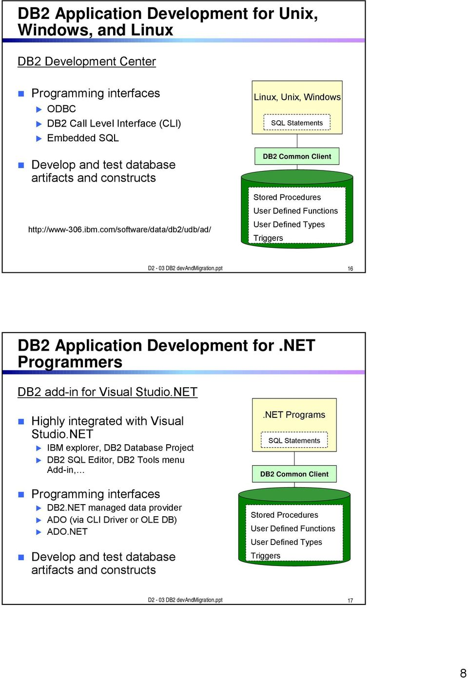 ppt 16 DB2 Application Development for.net Programmers DB2 add-in for Visual Studio.NET Highly integrated with Visual Studio.