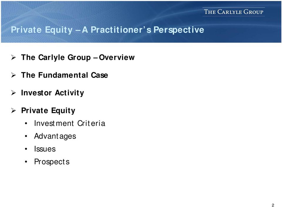 Case Investor Activity Private Equity