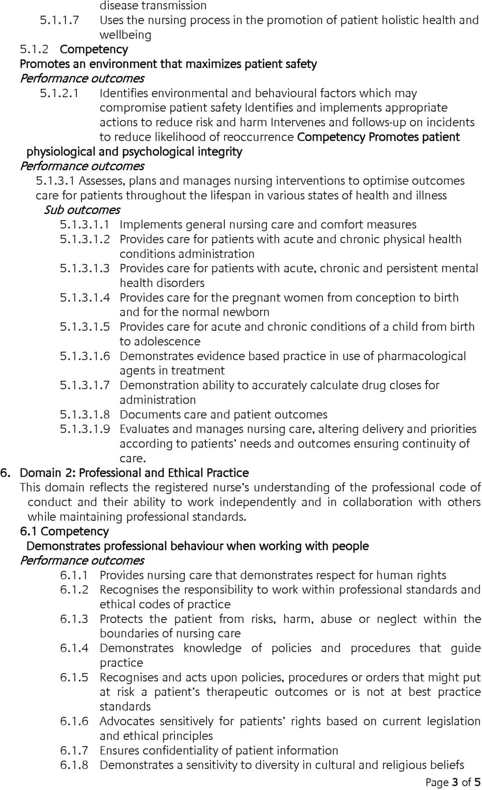 1 Identifies environmental and behavioural factors which may compromise patient safety Identifies and implements appropriate actions to reduce risk and harm Intervenes and follows-up on incidents to