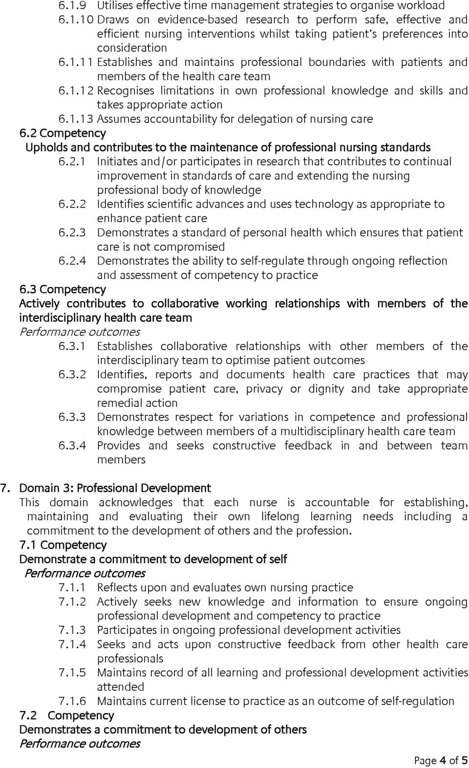 1.13 Assumes accountability for delegation of nursing care 6.2