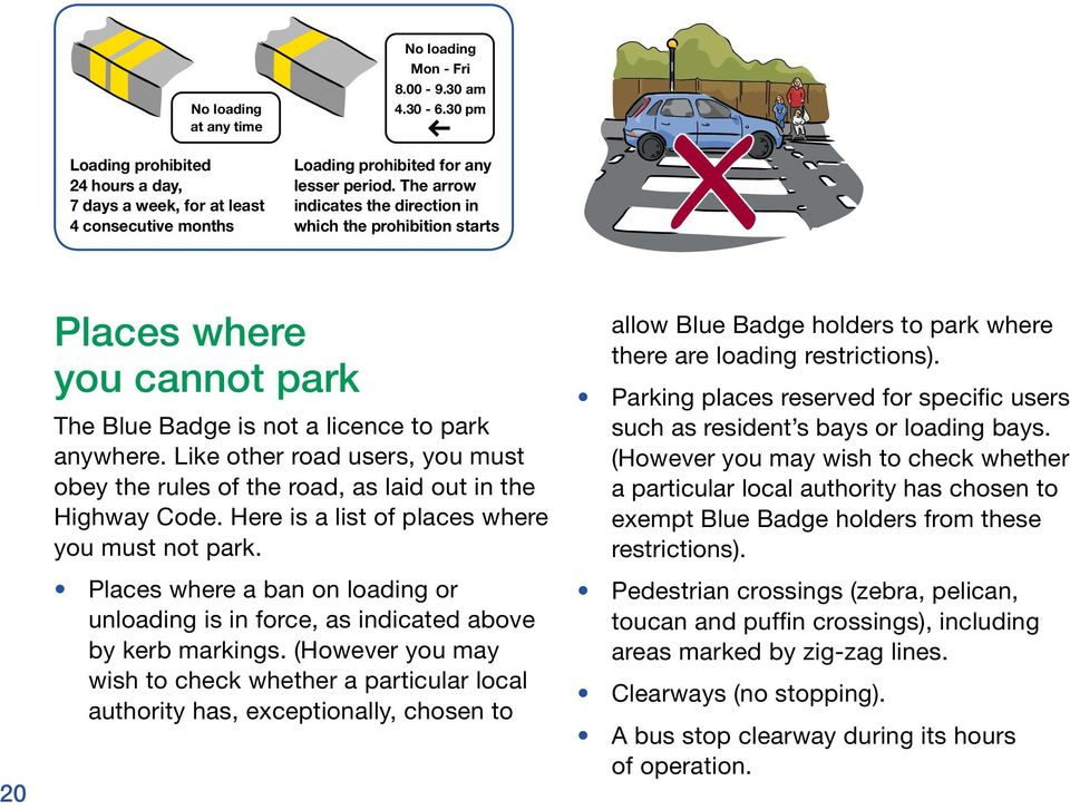 Like other road users, you must obey the rules of the road, as laid out in the Highway Code. Here is a list of places where you must not park.