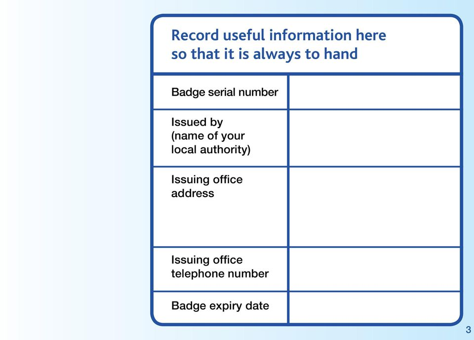 (name of your local authority) Issuing office