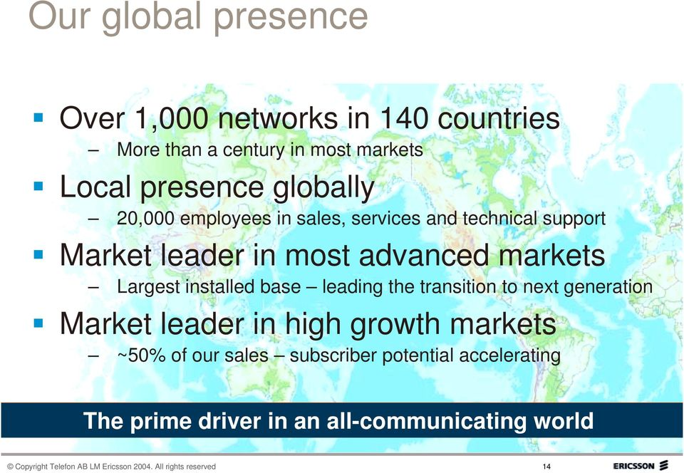 base leading the transition to next generation Market leader in high growth markets ~50% of our sales subscriber