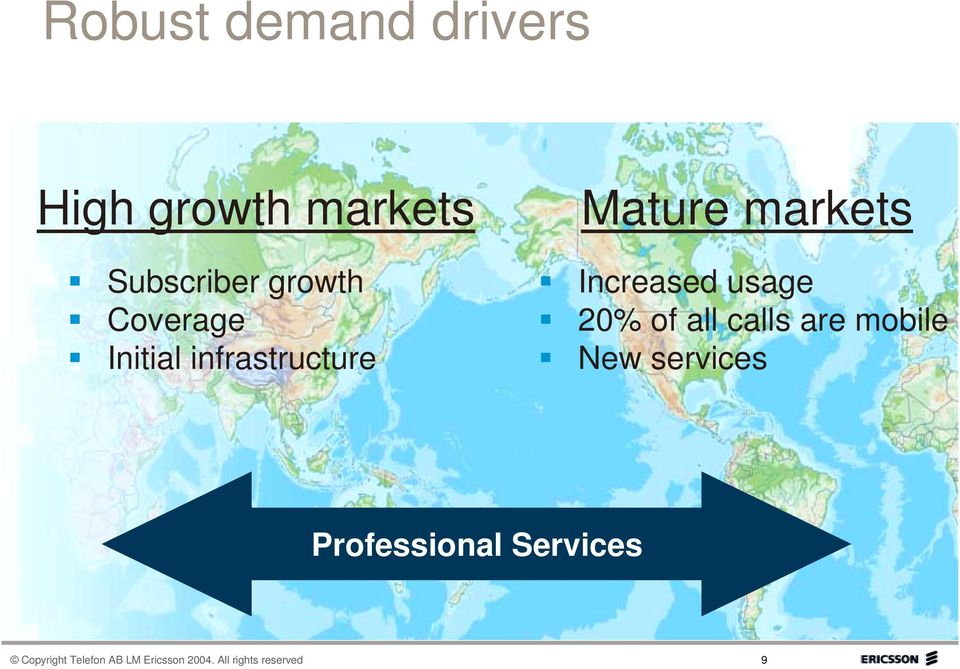 usage 20% of all calls are mobile New services Professional