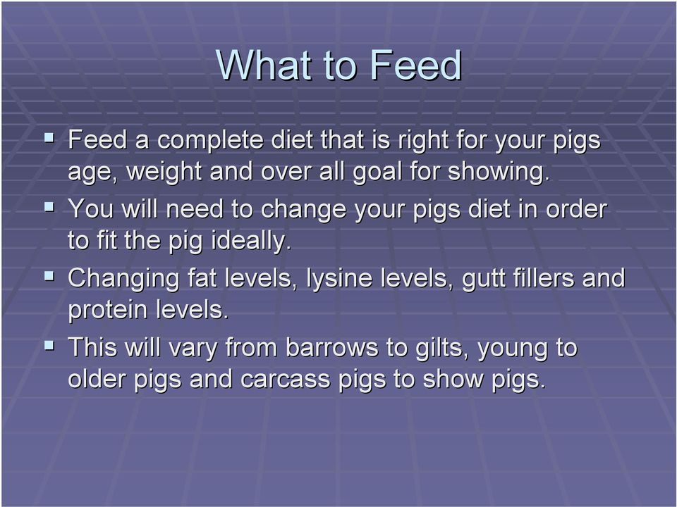 showing.! You will need to change your pigs diet in order to fit the pig ideally.