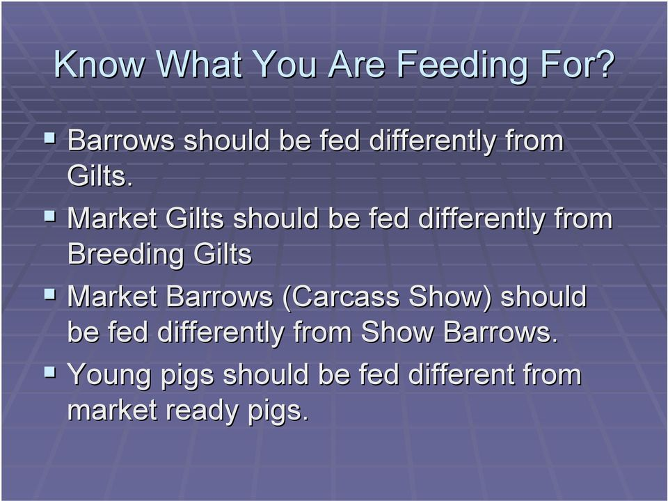 ! Market Gilts should be fed differently from Breeding Gilts!
