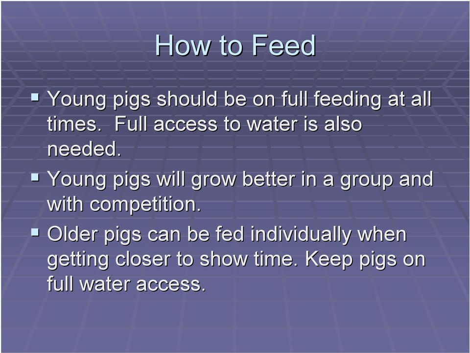 ! Young pigs will grow better in a group and with competition.