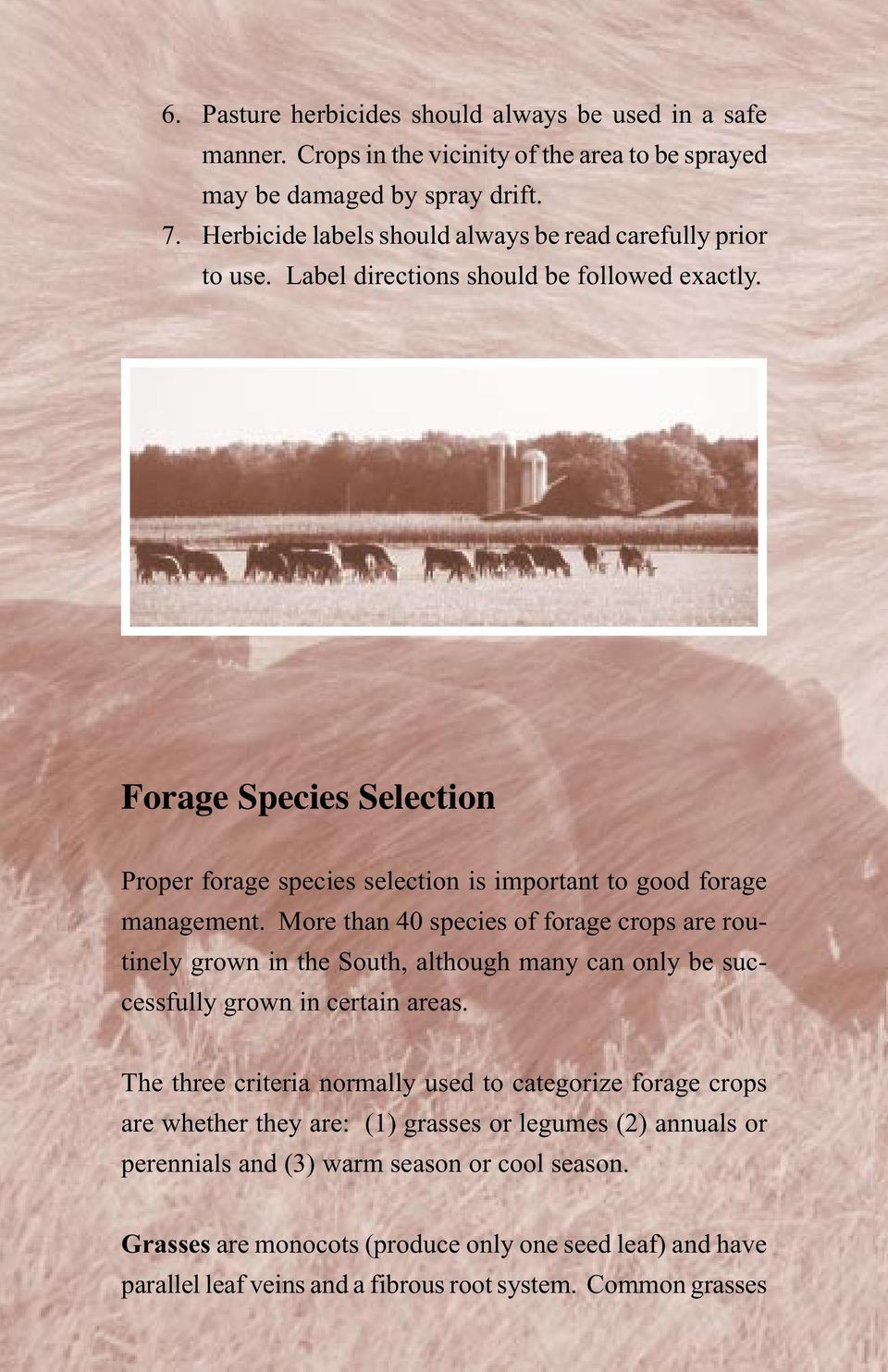 Forage Species Selection Proper forage species selection is important to good forage management.